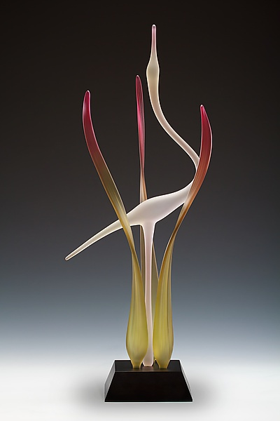 ~~Lone Crane: Blush: Warner Whitfield: Art Glass Sculpture~~